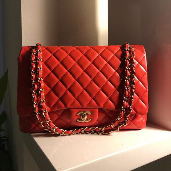 0638f58fc318 CHANEL Bags | Auth Redorange Lambskin Maxi Single Flap | Poshmark